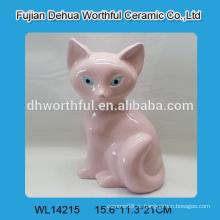 Розовая керамическая фигурка из лисы для домашнего украшения в милой форме