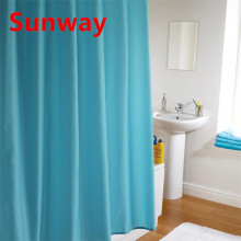 Cortina de ducha azul y amarilla