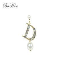 Persönlichkeit Perlen Ohrringe Kristall Mode D Brief Japan und Südkorea Ohrringe