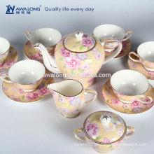 Heißer Verkaufs-guter schauender gelber Blumenantike-Knochen-China-Tee-Satz, Tee und Kaffee eingestellt von China
