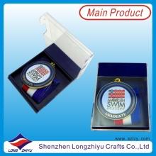 Runde Schwimmen Medaille für Akademie Graduate Medaille mit Acryl Transparente Box (lzy00045)