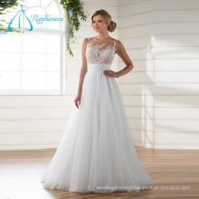 Lace Appliques Pleat Button Organza Tulle White Beach Wedding Dress