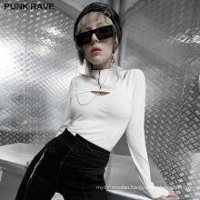 PUNK RAVE OPT-586TCF girls punk series casual women vintage hollow out bodycon long sleeve T-shirt