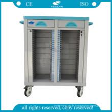 AG-CHT003 Hôpital dossiers patients titulaire ward room mobile deux rangées fichier chariot