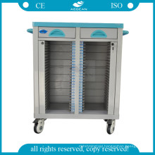 AG-CHT003 Hospital patient records holder ward room mobile two rows file trolley