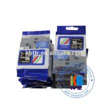 Ruban pour étiquette laminé blanc sur noir 12m tz231 18mm TZE-345