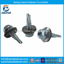 Stainless steel hex flange head self drilling screw with plastic washer