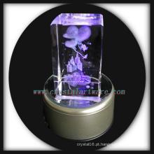 3D laser gravado aniversário presente de cristal com base de Led