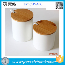 Concise and Easy Columniform Ceramic Spice Jar with Spoon