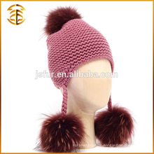 Factory Direct Versorgung Mode Winter Kid Waschbär Pelz Pompom Hut