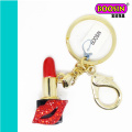 Wholesale Alloy Gold Plating Rhinestone Lipstick Keychain