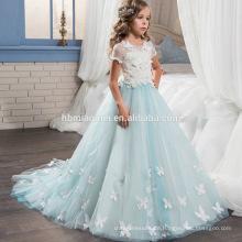 Neue Design Mode Weiß und Hellblau Farbe Lange Blume Spitze Engel Kleid für Baby