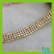 aparamento de cristal do copo do diamante da corrente do copo do cristal de rocha da multi fileira para o vestuário