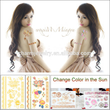 Sticker de tatouage flash temporaire Gold Changed Color for Summer Vacation BS-8029