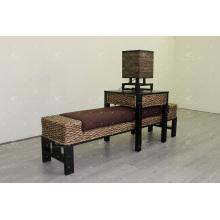 Exclusivo banco de mimbre de jacinto de agua, taburete, lámpara para juego de dormitorio para uso en interiores