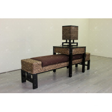 Exclusive Water Hyacinth Wicker Bench, Table Stool, Lamp for Bedroom Set For Indoor Use
