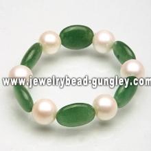 Pulseira de pérola e jade de moda