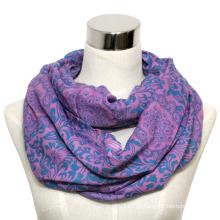 Senhora moda algodão voile impresso lenço infinito (yky1011)