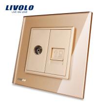 Livolo Gold Панель из хрусталя VL-C791VC-13 Настенный телевизор и COM RJ45 Интернет-розетка Электрическая вилка