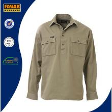 Cotton Drill Women Safety Work Shirts Two Pockets Uniform Work Shirt