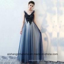 Sexy V-Ausschnitt Tüll Applikationen Lace-up Prom Dress bodenlangen Abendkleid