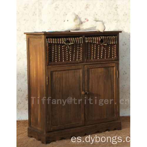 Home furniture Double Level shoes paulownia solid wood storage shoe cabinet