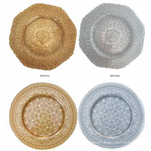 Round Spiral Glass Gold Charger Plate.