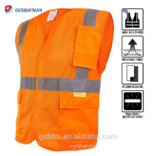 Fluorescent Orange High Visibility Security Traffic Working Clothing ANSI Hi Vis Reflective Surveyor Construction Safety Vest
