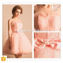 Pink Short Mini Tutu Dress com Lovely Bow Ano Novo Vestido de festa de Natal Lady Dress Anfitrião Vestido de dama de honra rosa curto
