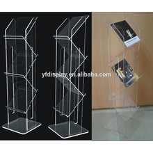 floor standing clear acrylic brochure holder, plastic book holder, portable magazine stand