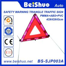 Reflective Safety Car Warning Triangle Traffic Sign with PMMA+ABS+PVC