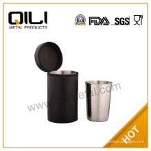 Stainless Steel Cups with Leather Bag/300ml cup