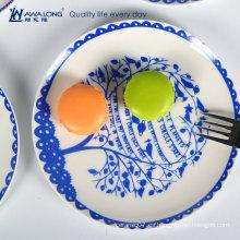Diseñador de Decoración de Hogar placa blanca y azul de porcelana