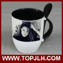 Double Color Ceramic Coffee Mug with Spoon