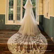 2020 Fashion Renda véu de noiva longo liso de alta qualidade
