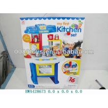 Juego de cocina de color azul con pilas, juguetes de cocina