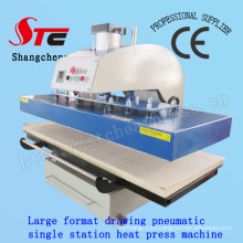 Máquina de transferencia de calor de camiseta de formato grande 60 * 130 cm Máquina de impresión de calor automática de dibujo Máquina de transferencia de calor de estación única neumática Stc-Qd08