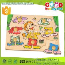 educational preschool knob dressing wooden child puzzle