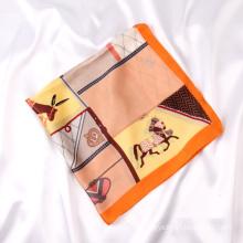 Hot Sale Women Summer Satin Head Scarf Luxury Horse Print Small Polyester Silk Neck Scarves