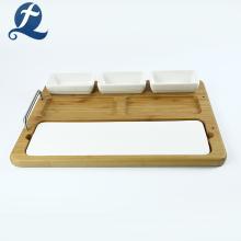Домашняя многофункциональная керамическая тарелка с деревянной тарелкой