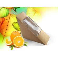 Caja de sándwich disponible de papel Kraft Triangle, caja de papel laminado Contenedor de alimentos / caja de sándwich
