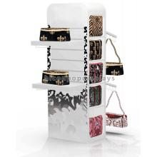 Custom Brand Shop Free Standing 4-Way Advertising Wholesale Hanging Gift Bag Hand Bag Display Stand