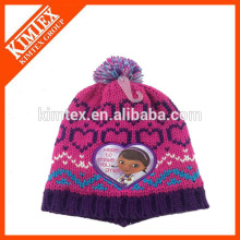 New acrylic lovely girl's knitted baby hats factory