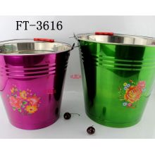 Stainless Steel Colorful Water Bucket for Houseware (FT-3616-XY)