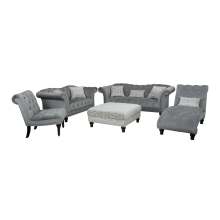 Velvet Tufted Sofas with Accent Chair Ottoman Chaise