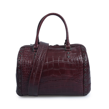 Boston Bag Crocodile Leather Casual stylische Tragetaschen
