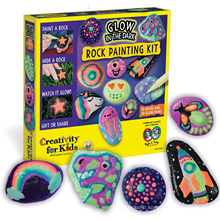 Creativity for Kids Glow in The Dark Rock Painting Kit - Paint 10 Rocks with Water Resistant Glow Paint