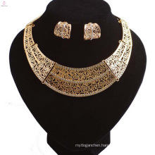 Hollow Out Crystal Wedding Bridal Gold Plating Statement Collar Necklace Jewelry Sets