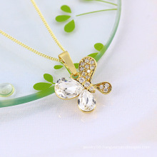 Fashion Jewelry Copper Butterfly Pendant with Cubic Zirconia