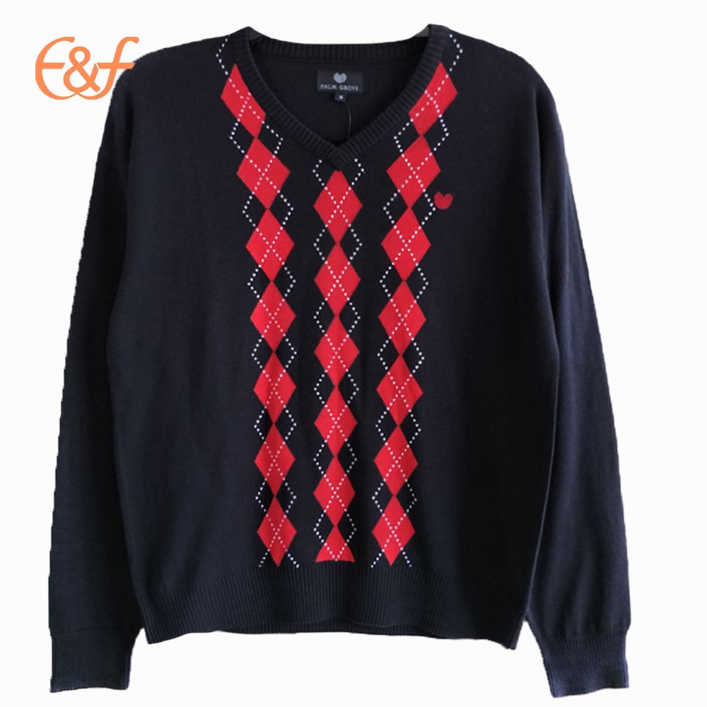 Ren Black Jacquard Diamond Lattice Pattern Argyle Sweater